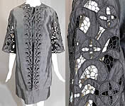 Vintage Diane Imports Hong Kong Black Silk Lace Cutwork Cocktail Dress & Coat