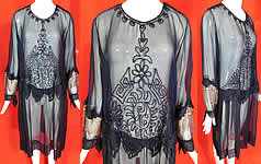 Vintage Art Deco Navy Blue Silk Chiffon Chain Stitch Embroidered Drop Waist Dress