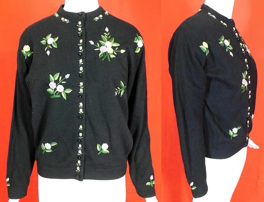 Vintage Hong Kong Black Lambswool Angora Rabbit Rosette Embroidered Sweater
