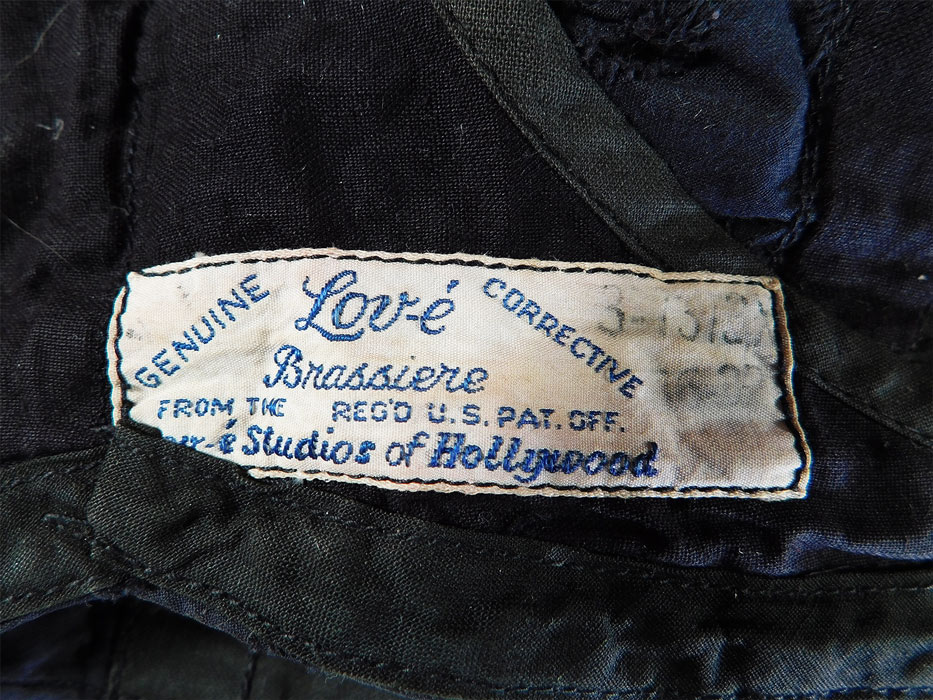 Vintage Lov-e Studios of Hollywood Brassiere Black & Blue Eyelet Corrective Bra