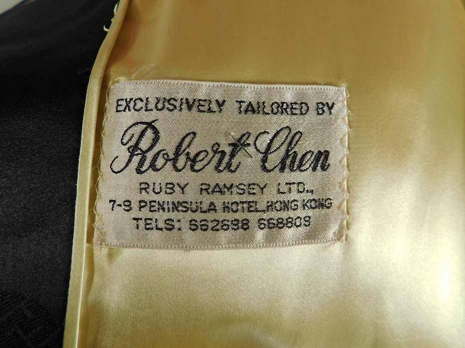 Vintage Tailored By Robert Chen Hong Kong Chinese Black Silk Damask Coat