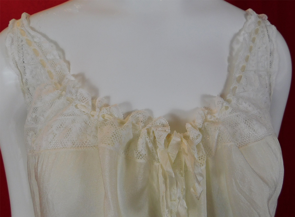 Edwardian Cream Silk White Lace Yoke Ribbon Neckline Camisole Top