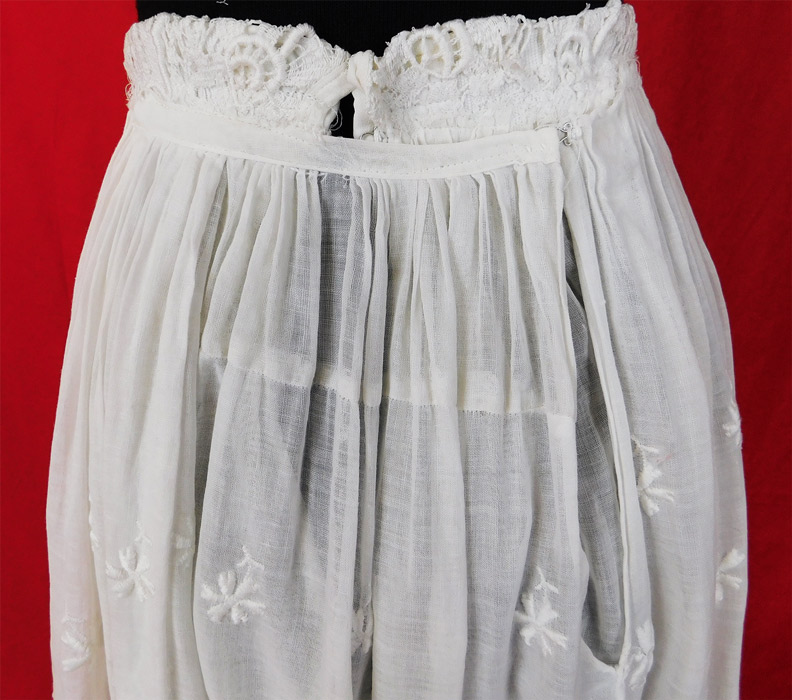 Edwardian Embroidered White Cotton Batiste Lace Layered Tea Length Skirt