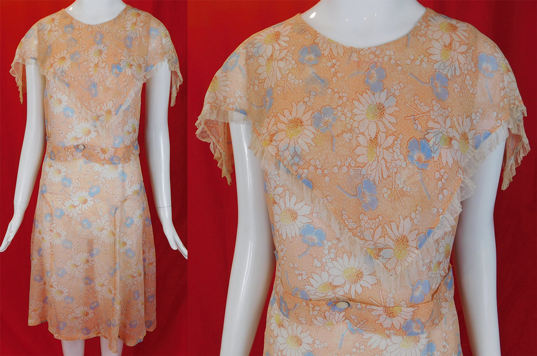 Vintage Daisy Flower Flour Feed Sack Cotton Print Frock Belted House Dress