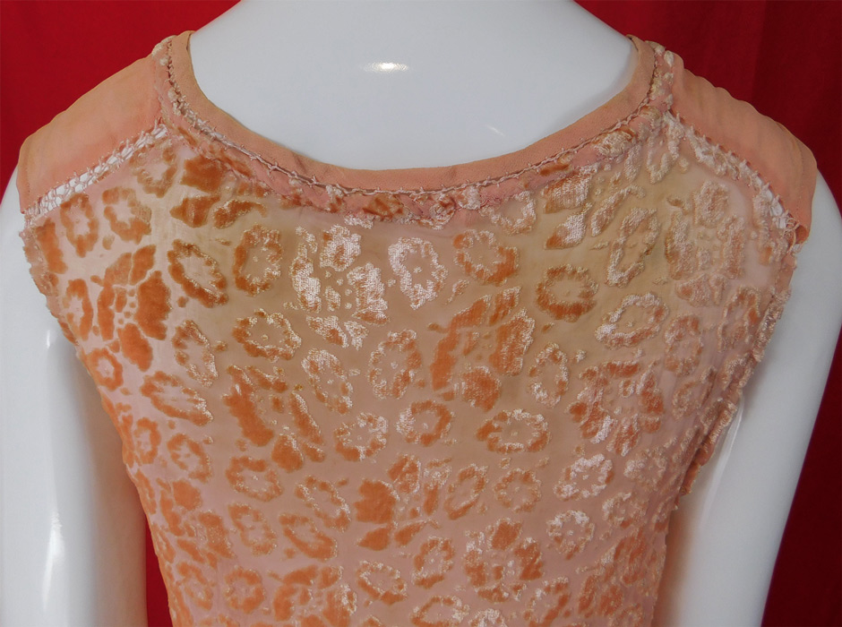 Vintage Art Deco Pink Silk Burnout Voided Velvet Devore Drawn Cutwork Blouse