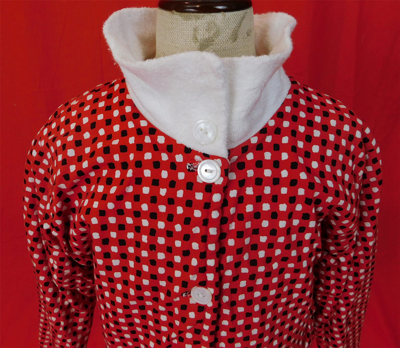 Vintage Scotties Cromwell Mills Childs Cotton Polka Dot Terrycloth Robe Jacket
