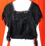 Victorian Black Silk Ruched Pleated Lace Fringe Trim Blouse Bodice Tabard Top