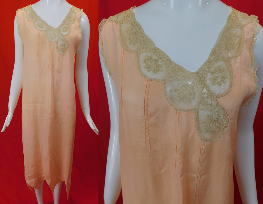 Vintage Pink Silk Cream Embroidered Lace Negligee Nightgown Chemise Dress
