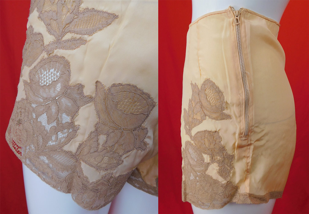 Vintage Zipanty Pink Silk Ecru Lace Trim Tap Pants Panties Lingerie