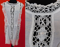 Edwardian White Cotton Batiste Cluny Torchon Bobbin Lace Tabard Tunic Top Dress