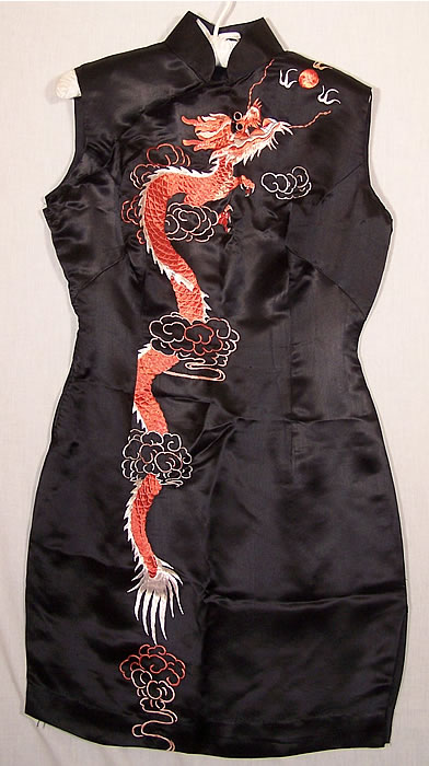 Chinese Cheongsam Silk Embroidered Dragon Dress