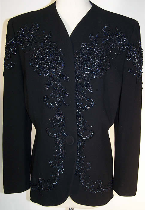 Black Gabardine Wool Blue Beaded Suit Jacket    Front view.