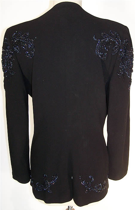 Black Gabardine Wool Blue Beaded Suit Jacket   Back View.