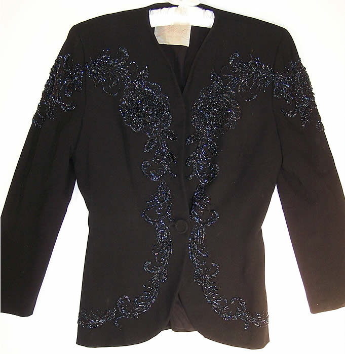 Black Gabardine Wool Blue Beaded Suit Jacket
