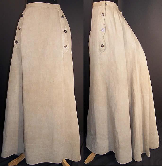 Edwardian Ecru Linen Ladies Walking Suit Skirt