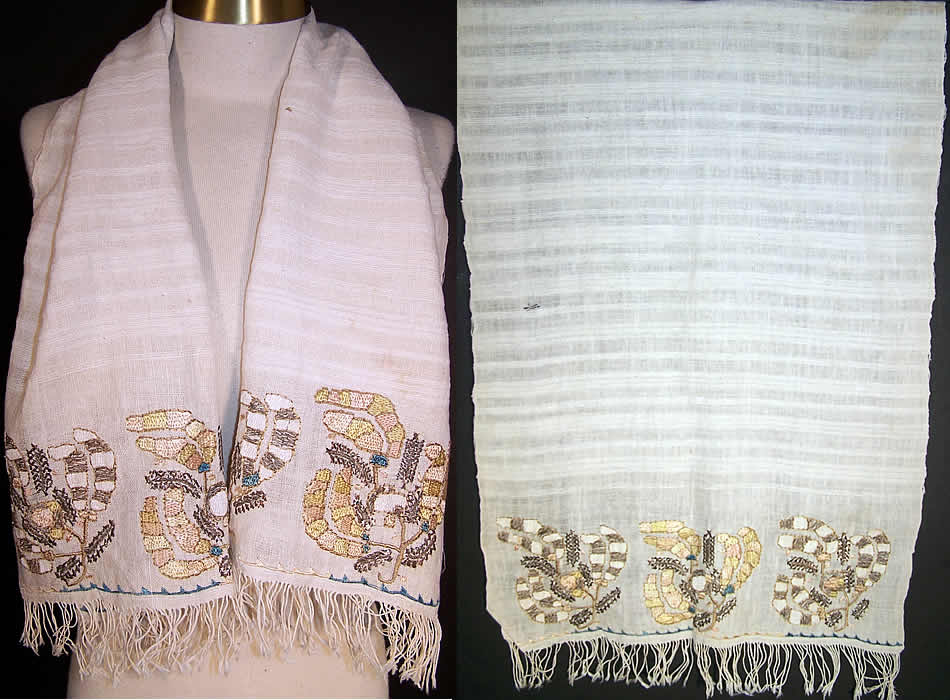 Ottoman Turkish Embroidered Linen Silver Sash  Front view.