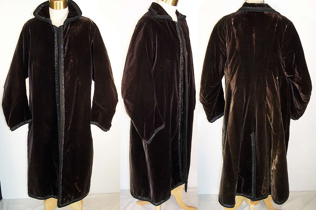 Edwardian Black Velvet Jet Beaded Winter Evening Coat  Front view.