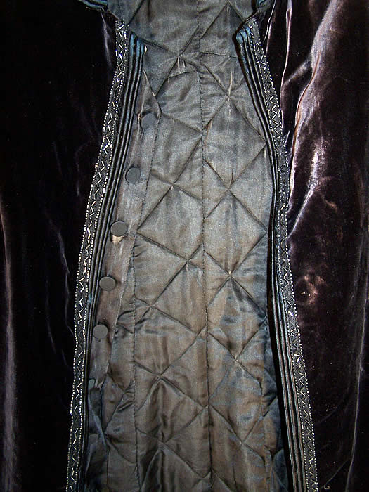 Edwardian Black Velvet Jet Beaded Winter Evening Coat Close up.
