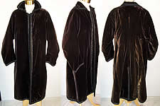 Edwardian Black Velvet Jet Beaded Winter Evening Coat