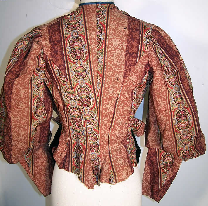 Victorian Paisley Wool Bodice & Skirt Fabric Panel Back View.