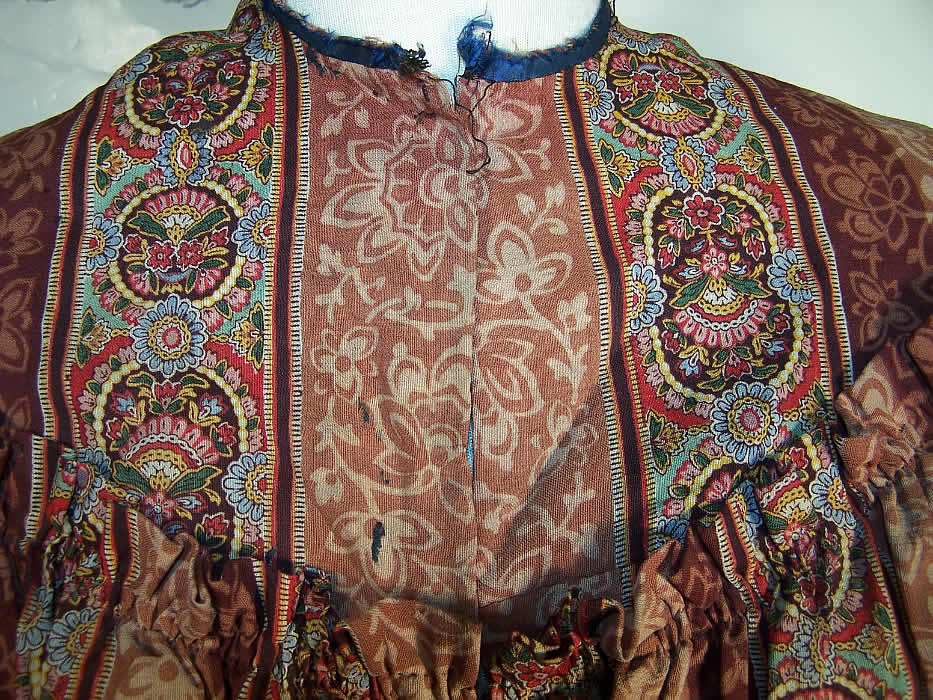 Victorian Paisley Wool Bodice & Skirt Fabric Panel