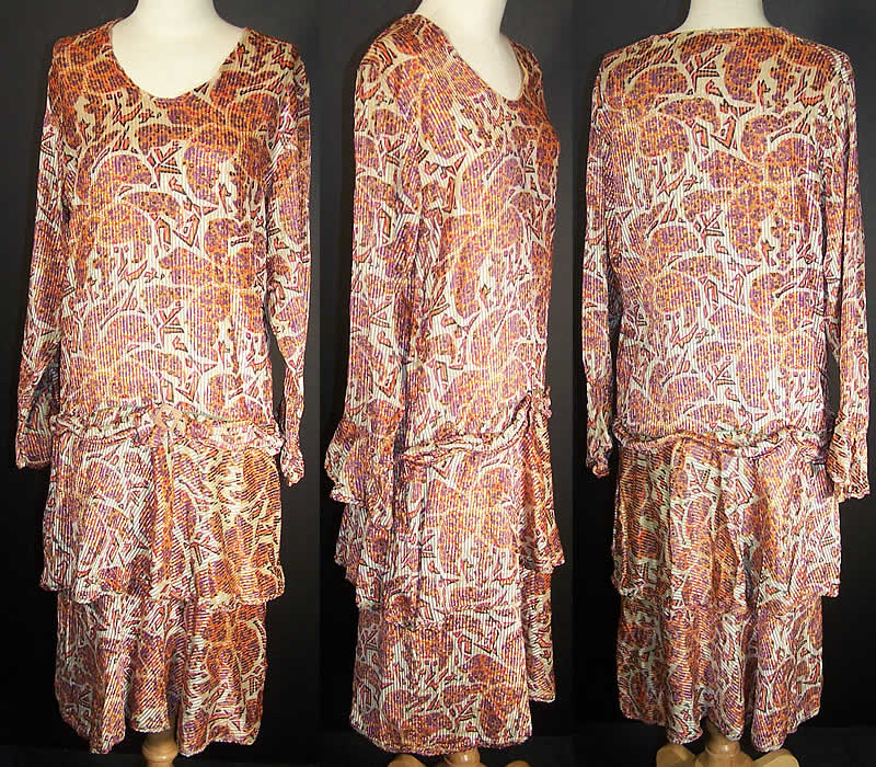 Art Deco Pleated Floral Voided Velvet Drop Waist Dress  Front view.