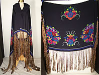 Antique Art Deco Silk Screen Floral Fringe Shawl Scarf