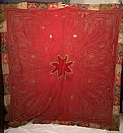 Antique Kashmir Embroidered Red Wool Paisley Shawl