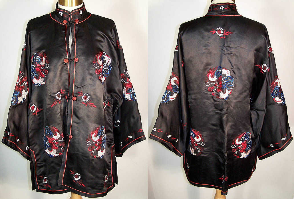 Dynasty Chinese Silk Embroidered Dragon Jacket  Front view.