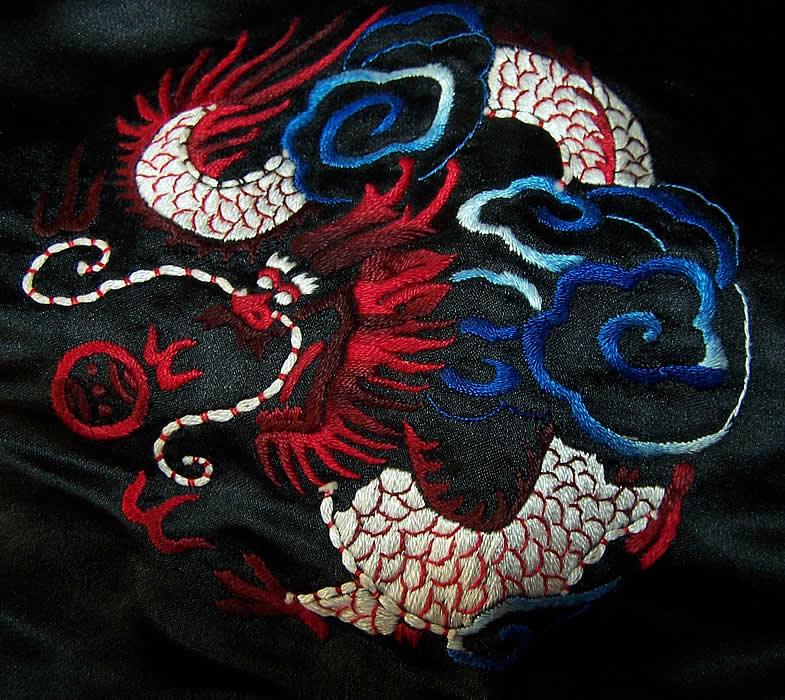 Dynasty Chinese Silk Embroidered Dragon Jacket close-up view.