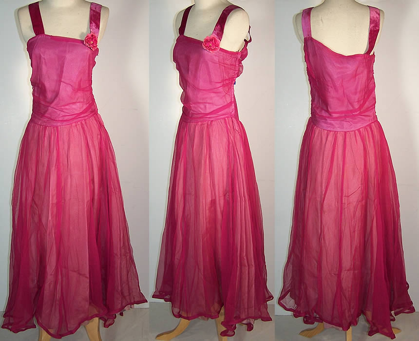 Vintage Fuchsia Pink Silk Chiffon Party Dress  Front view.
