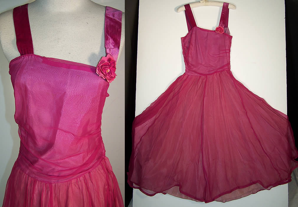 Vintage Fuchsia Pink Silk Chiffon Party Dress
