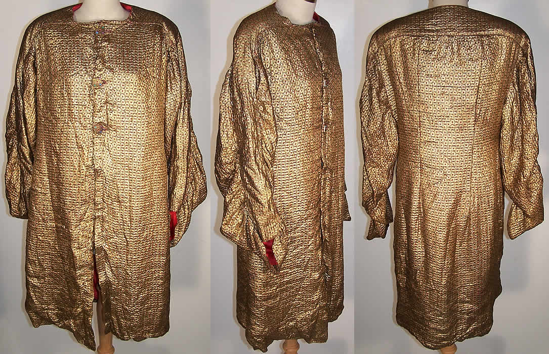 Art Deco Gold Lamé Red Dot Evening Coat Jacket  Front view.