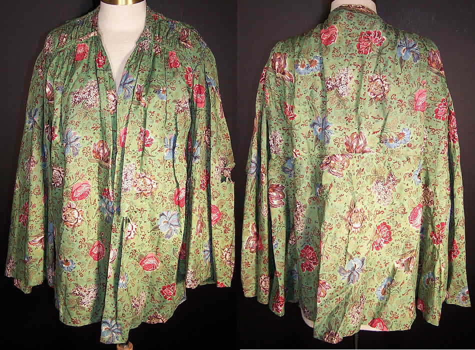 Antique Botanical Green Chintz Roller Print Shirt Jacket  Front view.