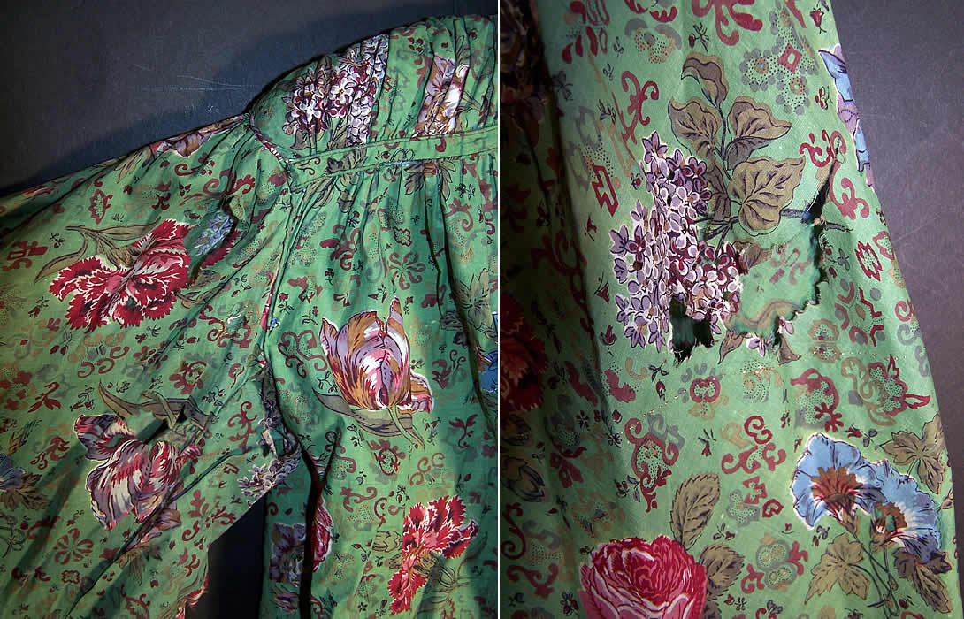 Antique Botanical Green Chintz Roller Print Shirt Jacket Close up.