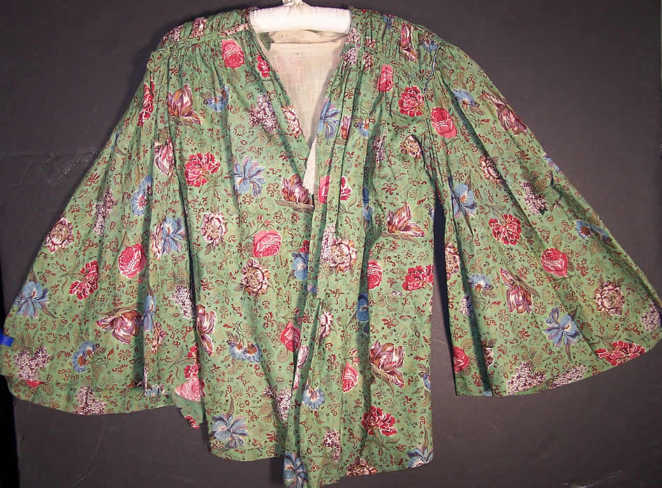 Antique Botanical Green Chintz Roller Print Shirt Jacket front view