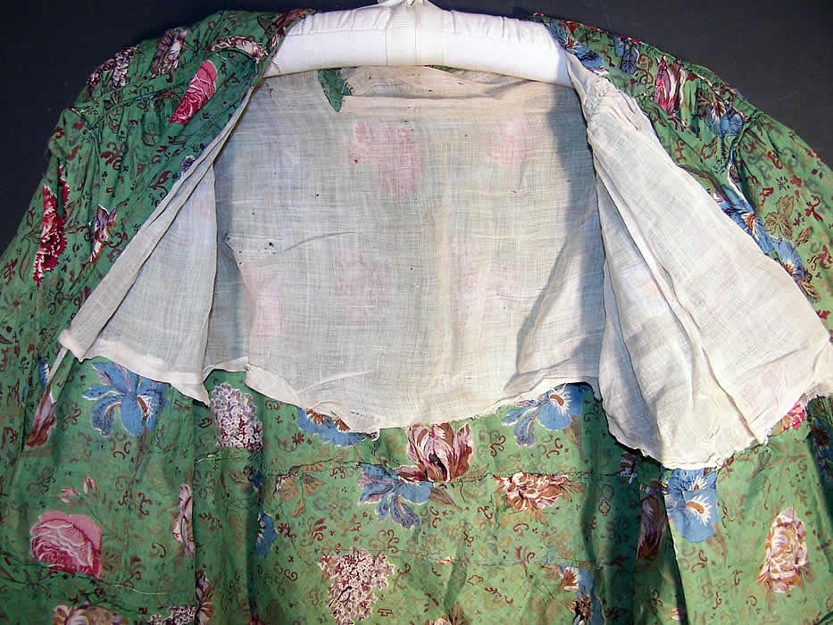 Antique Botanical Green Chintz Roller Print Shirt Jacket inside view