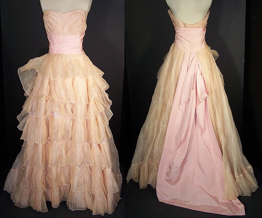 Vintage Ceil Chapman Blush Pink Organdy Strapless Dress Ball Gown  Front view.