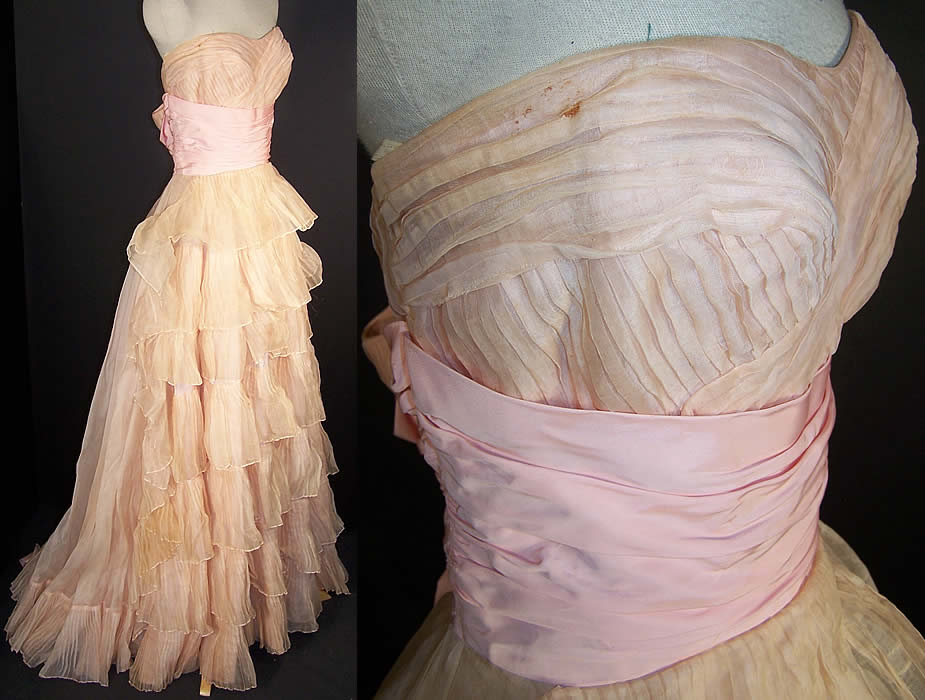 Vintage Ceil Chapman Blush Pink Organdy Strapless Dress Ball Gown side view.