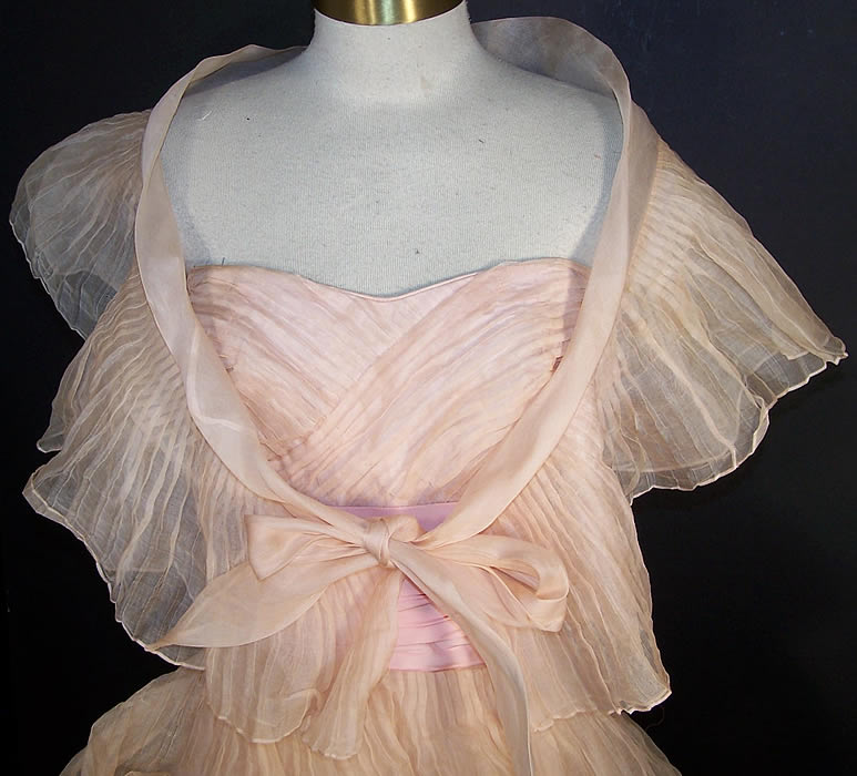 Vintage Ceil Chapman Blush Pink Organdy Strapless Dress Ball Gown front view