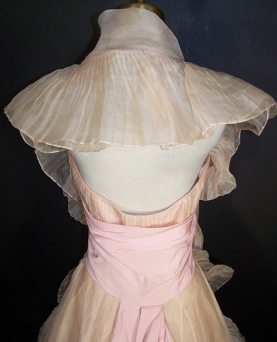 Vintage Ceil Chapman Blush Pink Organdy Strapless Dress Ball Gown back view