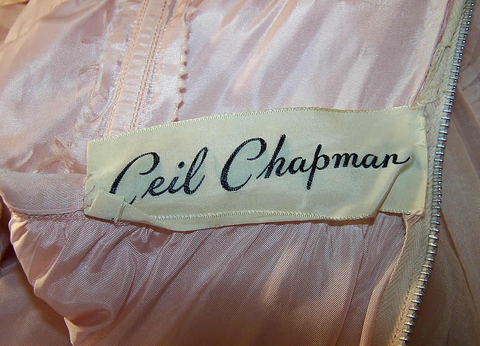 Vintage Ceil Chapman Blush Pink Organdy Strapless Dress Ball Gown Close up.