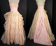 Vintage Ceil Chapman Blush Pink Organdy Strapless Dress Ball Gown