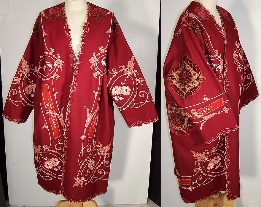 The Gallery of Wearable Art Burgundy Wool Embroidered Coat  Front view.