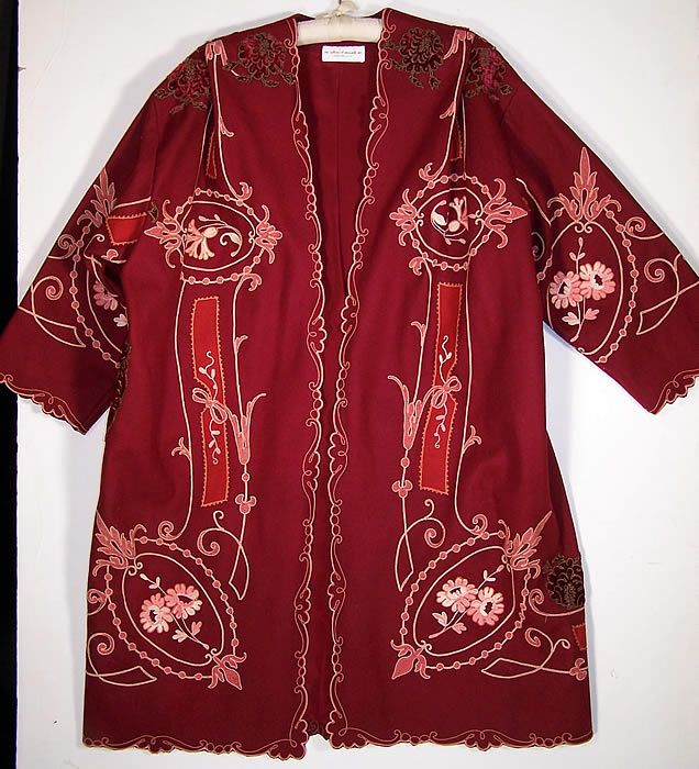 The Gallery of Wearable Art Burgundy Wool Embroidered Coat front view