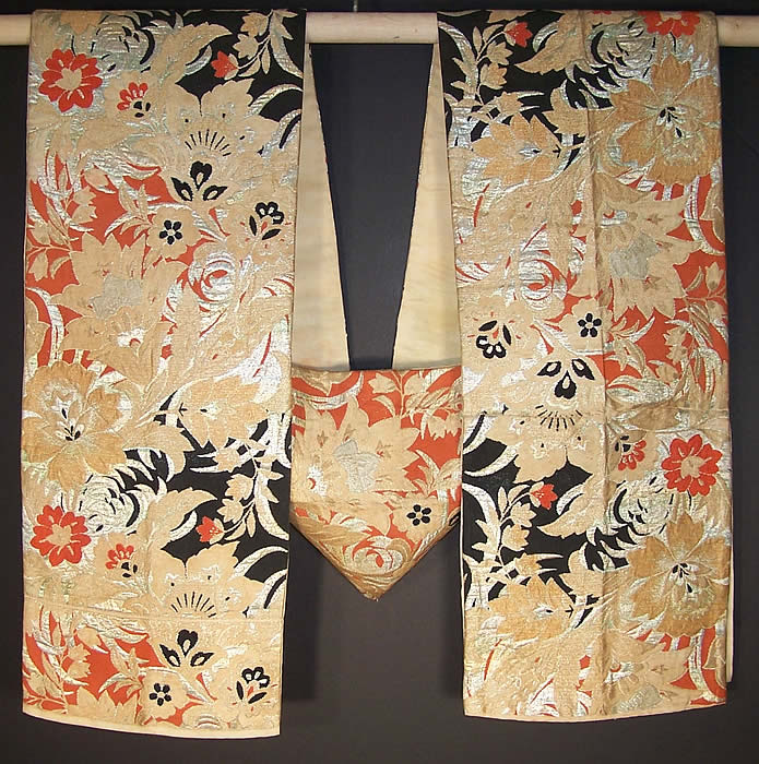 Japanese Geisha Orange Black Gold Brocade Kimono Obi Sash  Front view.
