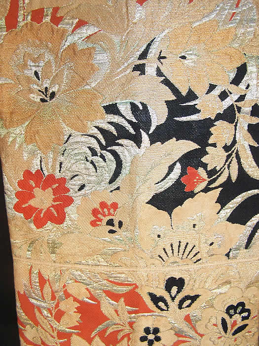 Japanese Geisha Orange Black Gold Brocade Kimono Obi Sash close-up view.
