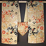 Japanese Geisha Orange Black Gold Brocade Kimono Obi Sash