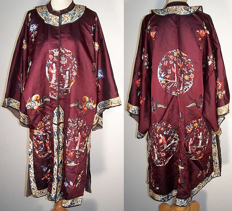 Chinese Figural Embroidered Aubergine Silk Robe Coat  Front view.