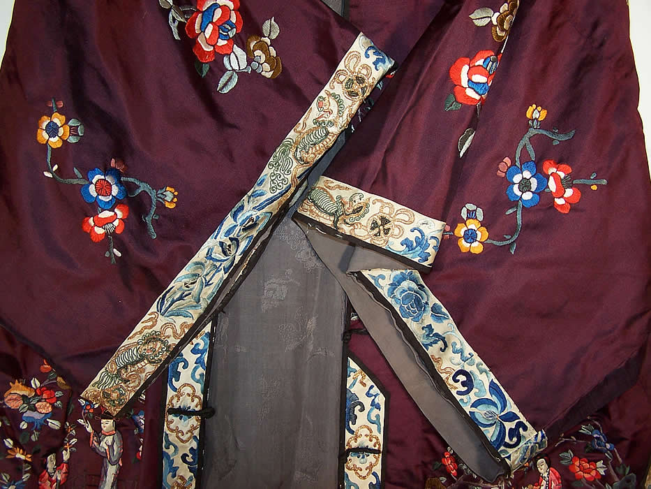 Chinese Figural Embroidered Aubergine Silk Robe Coat sleeve cuff View.